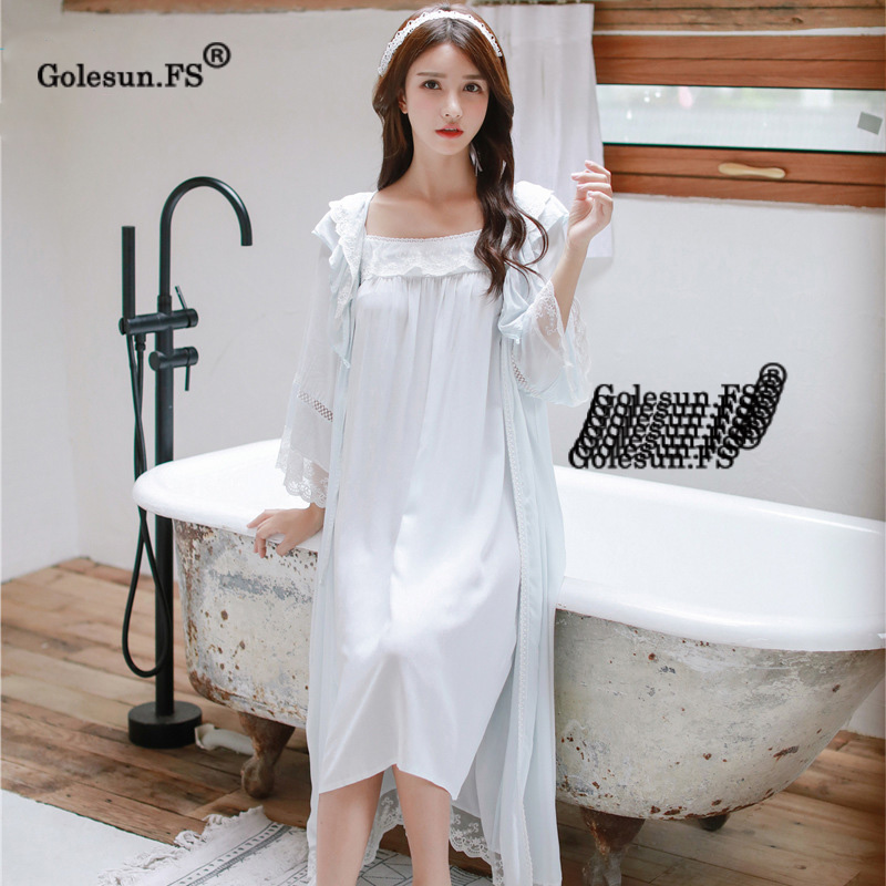 2018 Bridesmaid Robes Set Women   Nightgown     Sleepshirts   Lace Cotton Bathrobe Sets Sexy Nightdress Peignoir Wedding Pijamas 8091