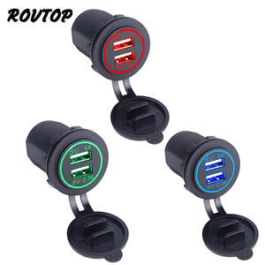 Rovtop DC12V-24V Universal Car Charger For Iphone Samsung Z2 Waterproof Dual USB