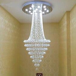 Kryształowy żyrandol Led sufitowa oprawa oświetleniowa nowoczesny kryształowy oświetlenie nabłyszczania oprawa długie K9 kryształy lampa sufitowa na schody