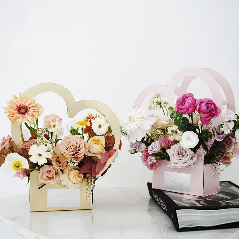 5pcs/lot Portable Heart Flower Boxes Folding Flower Paper Box Flower Packaging Box Florist Packaging Supplies