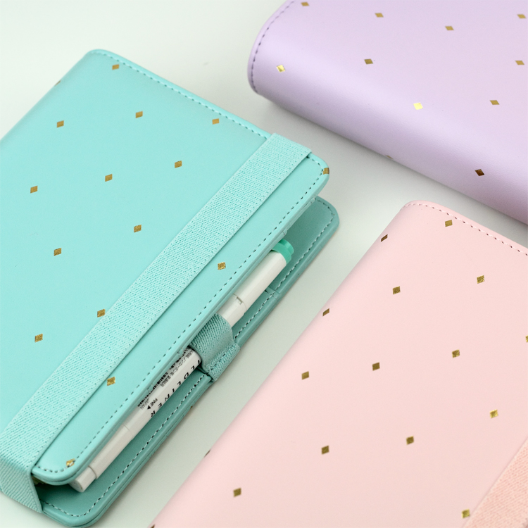 цена 2016 New Arrive Star JM Polka Dot 6 loose leaf Notebook A5 A6 Organizer Planner With Elastic Bind Match Dokibook Filler