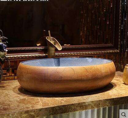 Умывальник в китайском стиле, восстанавливающий древние пути на контрактной художественной раковине, овальные архаизмы, керамические рако
