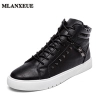 2017 PU Leather Casual Shoes Men Brand Designer High Top Sneakers Lace Up Breathable Male Footwear