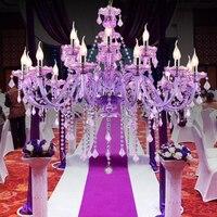 티파니 퍼플 컬러 크리스탈 샹들리에 광택 크리스탈 샹들리에 18 팔 d950mm e14 ac 옵션 lustres de cristal chandelier 샹들리에    -