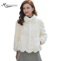M Y FANSTY 2017 Shuba Women Winter Pure Color Winter Swan Velvet Mink Fur Coat Mandarin