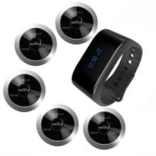 SINGCALL Sistema de paginación de emergencia inalámbrico, 5 botones de llamada plateados para camarero, 1 pulsera impermeable, reloj receptor