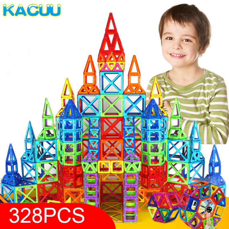 KACUU 328pcs Mini Magnetic Designer Construction Set Model & Building Toy Plastic Magnetic Blocks Educational Toys For Kids Gift