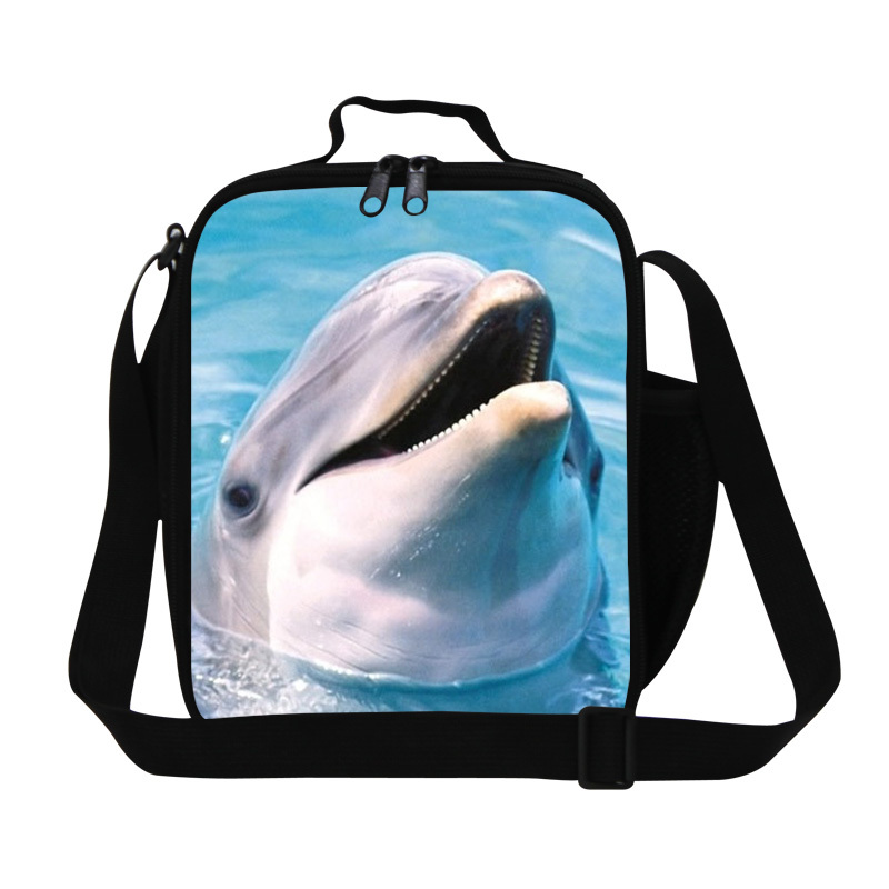new animal shark lunch bag for women work office, kids square stylish thermal lunch bags shoulder insulated picnic bag for girls