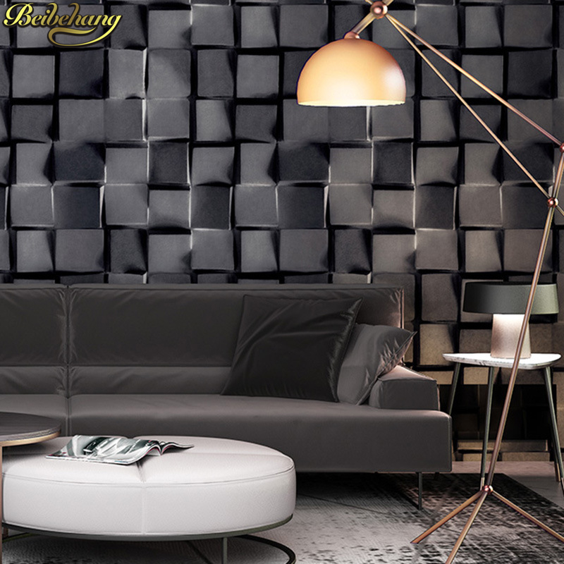 beibehang papel de parede 3D Geometric lattice plaid wallpaper for walls 3 d Wall Paper Rolls Living Room Bedroom Decoration
