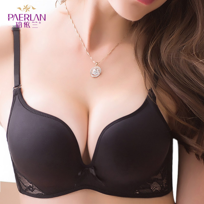 PERLAN Seamless Wire Free Push Up bra Bow gather breasted solid color one piece lace lingerie Floral Women underwear Sexy|bra up|up bra|wire free - title=