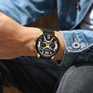 Image 3 - CURREN ספורט שעון גברים למעלה מותג יוקרה הכרונוגרף גברים שעונים עור אופנה קוורץ גבר שעון עמיד למים שעוני יד