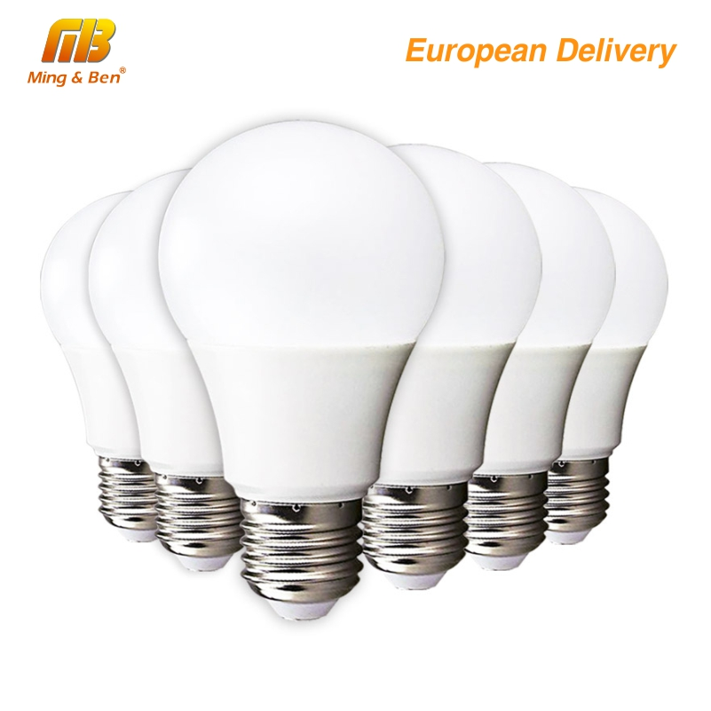 [MingBen] 4pcs No Filcker LED Bulb Lamp E27 5W 7W 9W 12W 15W AC220V 230V High Brightness Cold White Warm White Ship From Spain