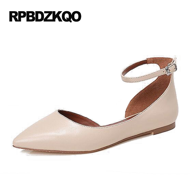 Nude Pointed Toe Comfortable Sandals Ankle Strap Suede Designer European Luxury Brand Shoes Women Office Ladies Flats Black women ballerina pointed toe ladies designer shoes china 2018 ballet ankle strap suede pink cute elastic flats japanese cross