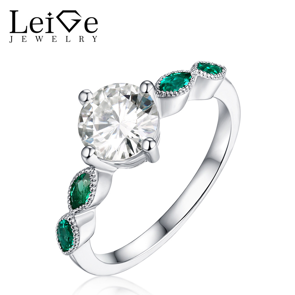 Leige Jewelry Moissanite Engagement Rings for Women With Emerald Side Stones Round Cut 925 Sterling Silver Ring Christmas Gift
