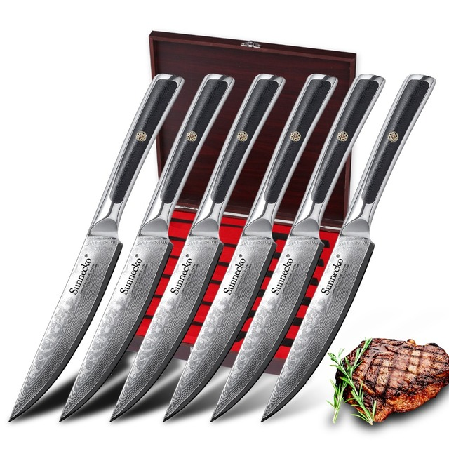 SUNNECKO 6 pcs ดามัสกัสเหล็กมีดสเต็กชุดกล่องบรรจุภัณฑ์ที่สวยงามมีดครัวชุด Cook ของขวัญ Chef อาหารค่ำเนื้อเครื่องตัด
