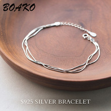 цены Multi-layers Charm Bracelets for Women Fashion Simple Triple Rows Chain Bracelet Korean 925 Sterling Silver Bracelet Jewelry