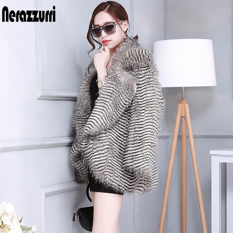 Nerazzurri Faux Fur Coat Women New Arrival 2019 Long Sleeve Gradual Color Outwear Winter Plus Size Fake Fur Jacket 5XL 6XL 7XL