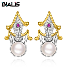INALIS New Fashionable Stud Earrings 925 Sterling Silver Micro Paved CZ Crystal with Single Pearl Castle Shape Brincos for Women