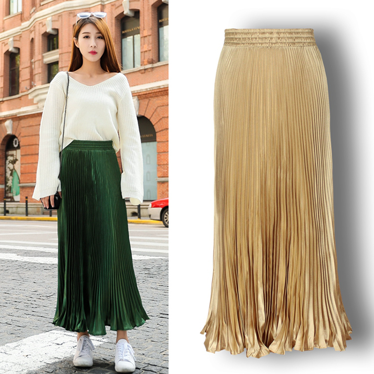 Spring/Autumn Casual Al-match Pleated Long Skirts, Beautiful Accordion Drapped Skirts More Thank 10 Colors