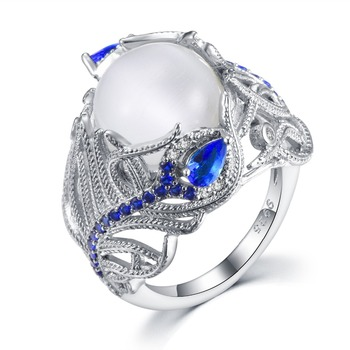 New Hot Blue Flower Moonstone Rings European Creative Vintage Ring Jewelry Woman Dropshipping