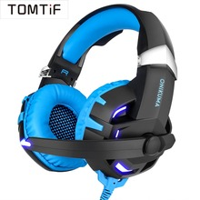 TOMTIF Wired Surround Sound 7.1 Gaming Headphones PS4 Headset Gamer PC with Microphone USB LED Light Volume Control for Xbox One