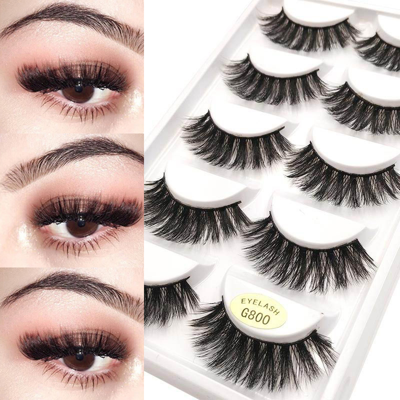 5 Pairs 3D Eyelashes Soft False Eyelashes Handmade Wispy Fluffy Natural Long Faux Eye Lashes Mink Cilios Maquiagem Make Up G800