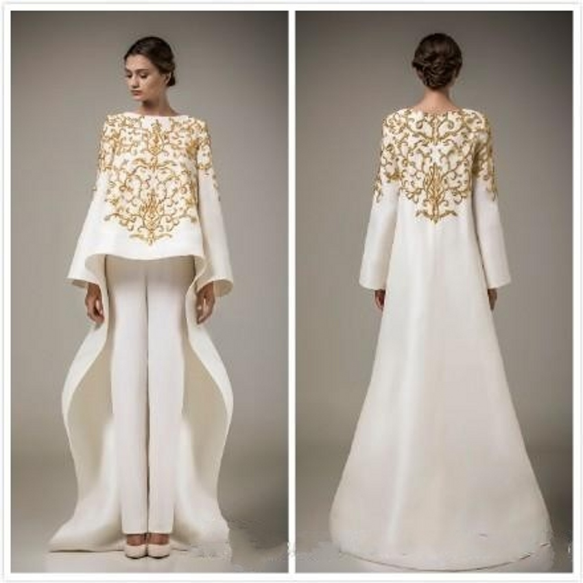 Gorgeous Ivory Evening Dresses 2017 pant font b suits b font gold embroidered prom dress vestidos