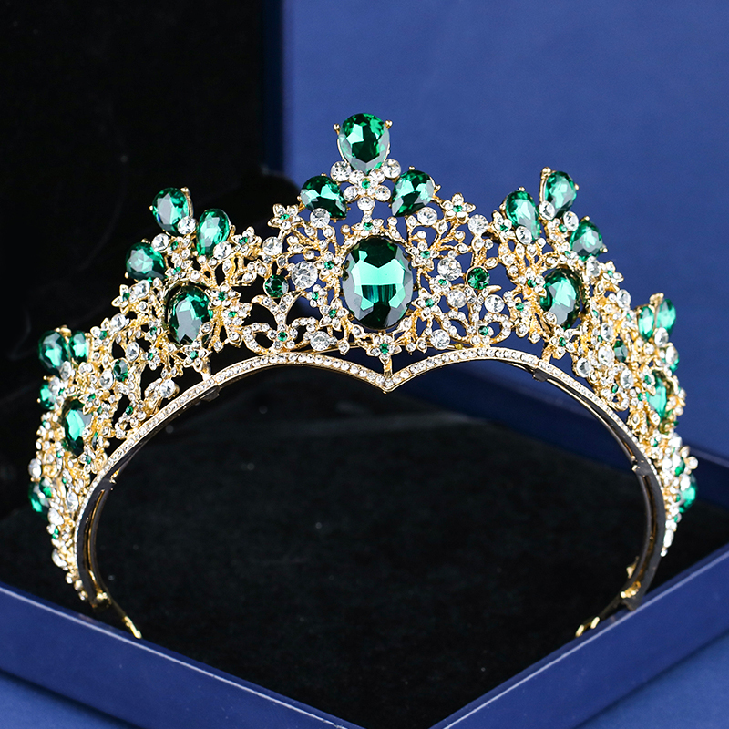 Baroque Vintage Green Crystal Hair Jewelry For Queen Women Bridal Rhinestone Gold Tiaras Crowns King Wedding Hair Accessories токовые клещи victor dm3202 400a