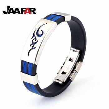 New fashion sports bracelet customized silicone wristband titanium steel bracelet man stainless steel jewelry wholesale pulseira bracelet