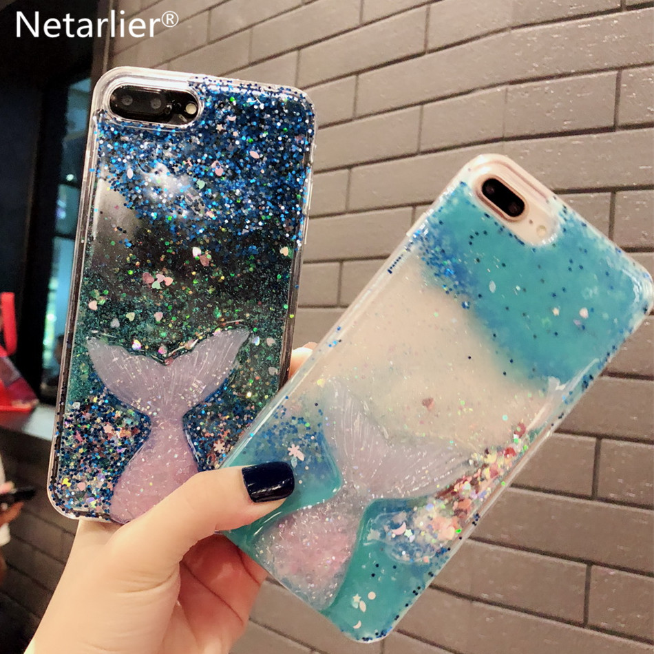 Netarlier Liquid Case For Iphone 6 6S 7Plus 8 ix XR Xs Max 3D Glitter Mermaid Tail Drip Powder Quicksand Bling Star Heart Cover