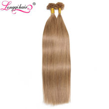 Longqi Hair Pre Bonded U Tip Human Hair Extensions Keratin Glue Nail Tip Hair 0.5g 1g/s 100 Strands #1b 1 2 4 12 27 60 613(China)