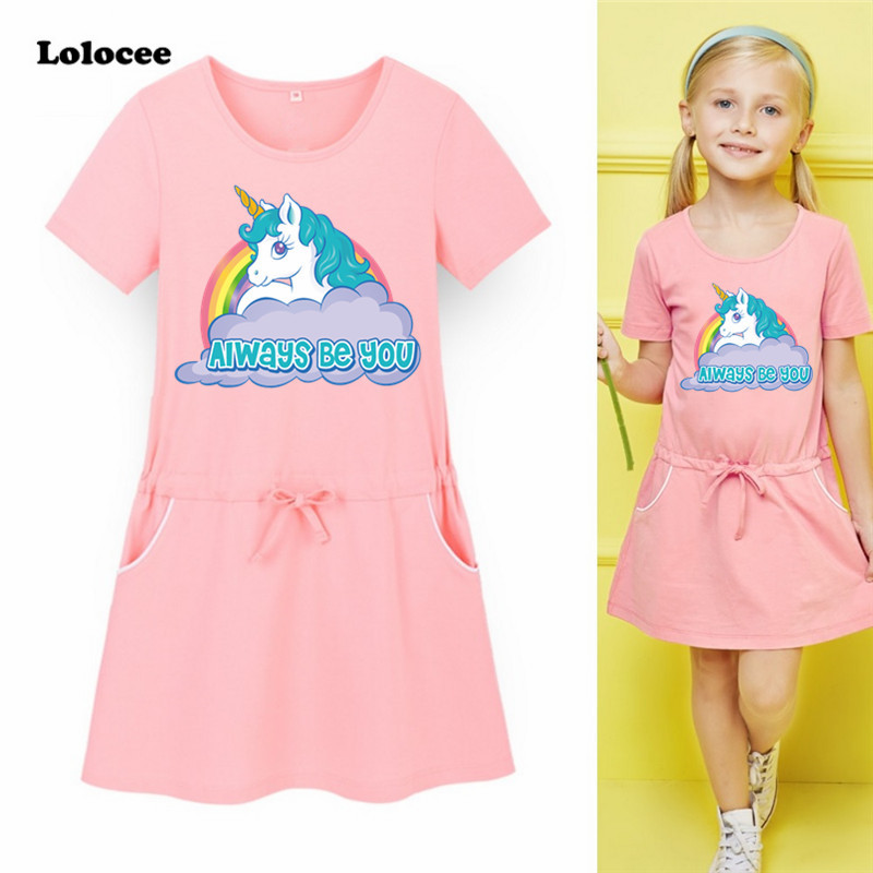 Unicorn Always Be You Pocket Dress Baby Girls Cotton O-neck Short Sleeve Harajuku Sport Dress Kawaii School Clothing Size 5 8 10