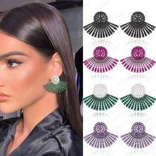 GODKI 40MM Famous Luxury Popular Full Ealobe Stud Earring For Women Accessories Full Cubic Zircon Earrings pendientes mujer moda