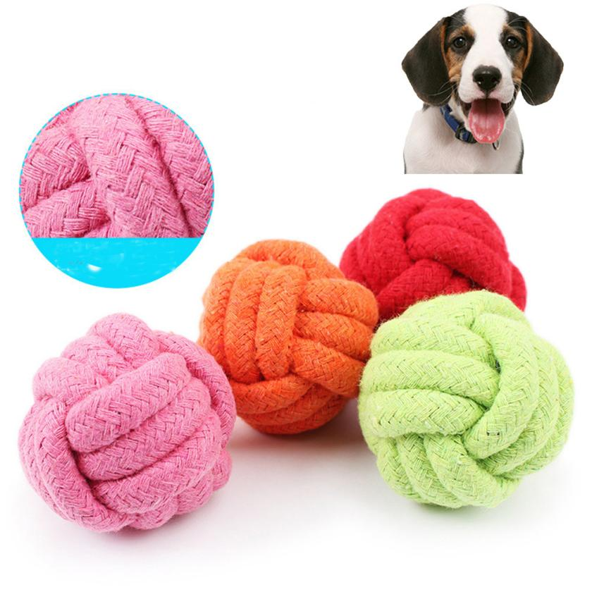 Pets Rope Ball Toy Biting Ball Colorful Squeak Toy Dog Toy Ball