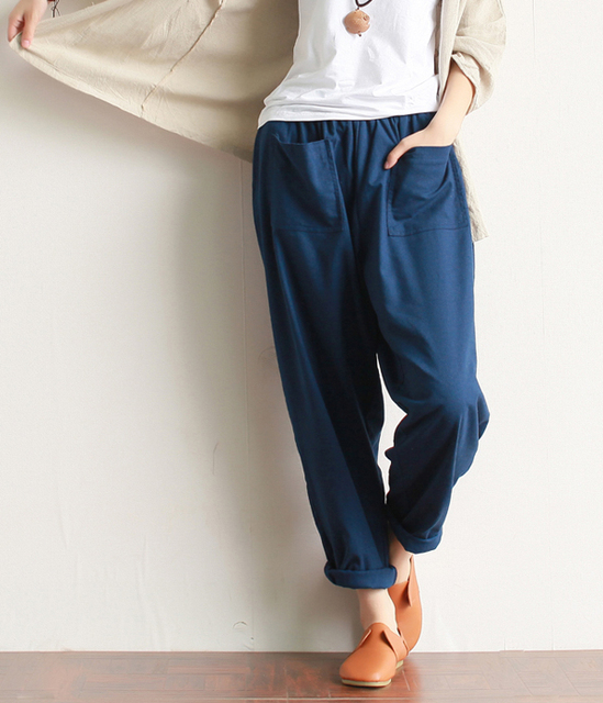 2016 New Spring Women new literary Lantern Pants vintage washed cotton linen leisure Harem trousers loose pockets maxi Casual