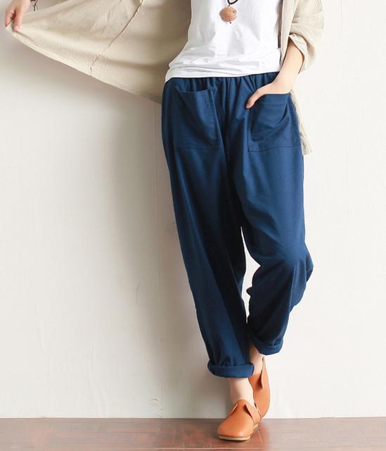 2016 Nuevas Mujeres Del Resorte nuevo literaria Linterna Pantalones ropa de algodón lavado ocio Harem pantalones bolsillos sueltos vendimia maxi Ocasional