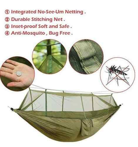 Nuevo Camping al aire libre hamaca Mosquito MilitaryJungle viajes colgar dormir neto enviar en Color al azar