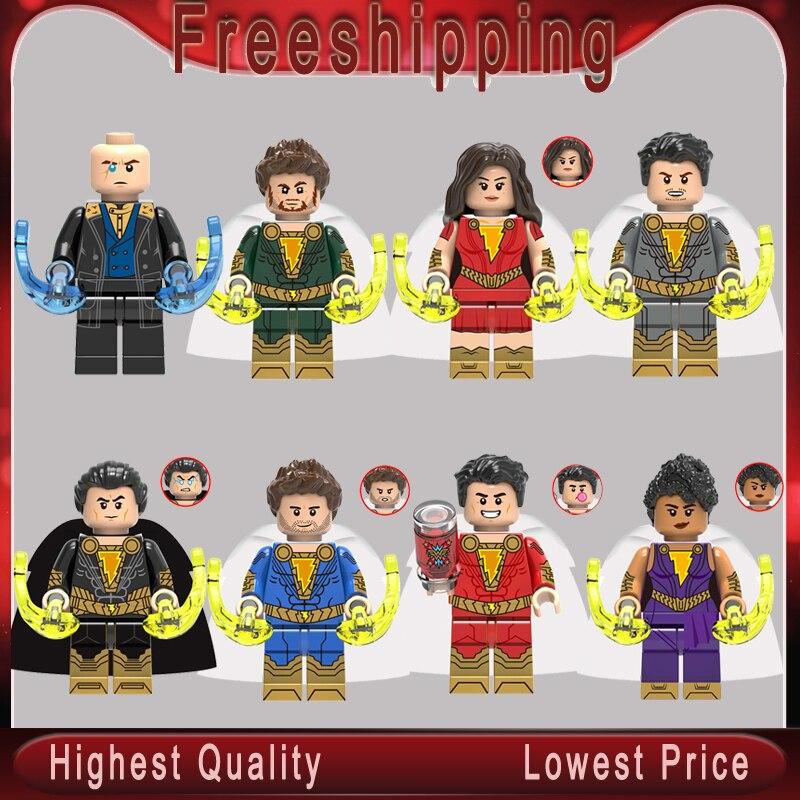 Mini Kids Super Hero Shazam Billy Freddy Freeman Mary Marvel Pedro pane 8PCS