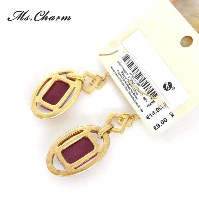 Hot Selling 2015 Gold color Geometric Earrings Wine Red Rhinestone  Pendiente Earrings For Women Vintage Long Earrings Designs-in Drop Earrings  from Jewelry ... c8d88731e51c