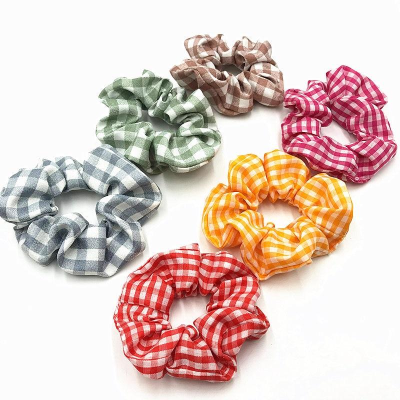 1pcs Good Quality Gingham Scrunchies Girls Elastic Hair Rope Band Cotton Hair Scrunchies Plaid Ponytail Holder Hair Accessories