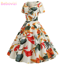 Bebovizi Women Clothes 2019 New Casual Summer Retro Dress 1950s Vintage Plus Size Party Sexy Elegant Office Flower Print Dresses ormonde jayne ambre royal туалетные духи 5 8 мл