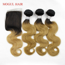 MOGUL HAIR T 1B 27 Ombre Honey Blonde Bundles med Closure Peruvian Body Wave Remy Mänskliga Hår 2/3 Bundlar med Closure