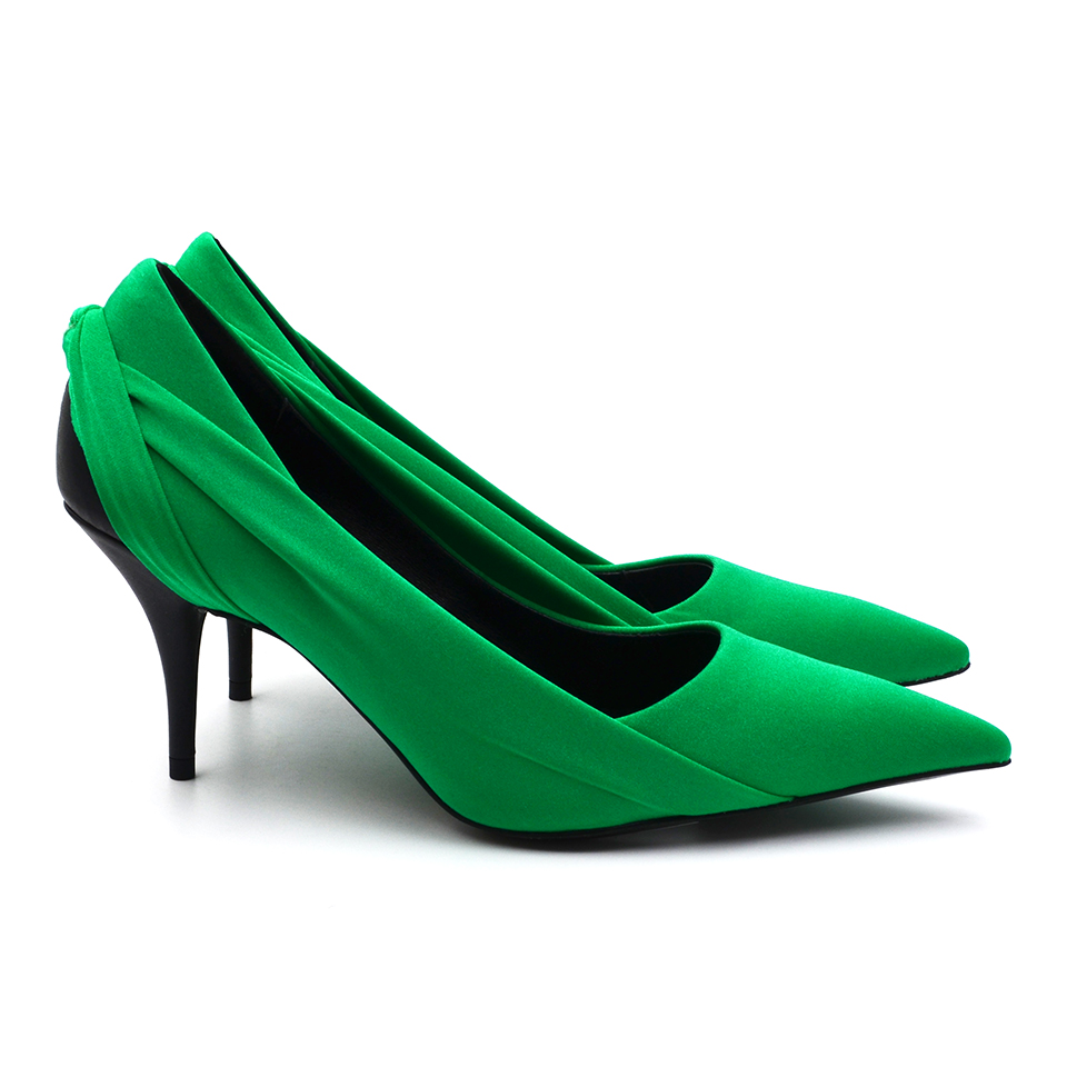 Sexy Green high heels Shoes Brand Women Silk cloth Dots Pointed toe 8 CM stiletto Sexy Shallow ladies shoes Woman Pumps