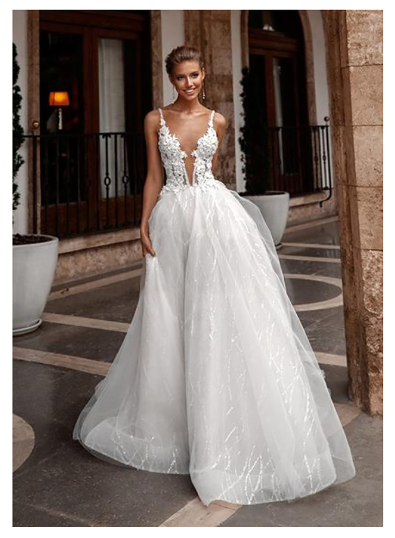 Beach Wedding Dress  Spaghetti Straps See Through Neck Bride Dresses Open Back A Line Simple Wedding Gowns Backless Floor Length