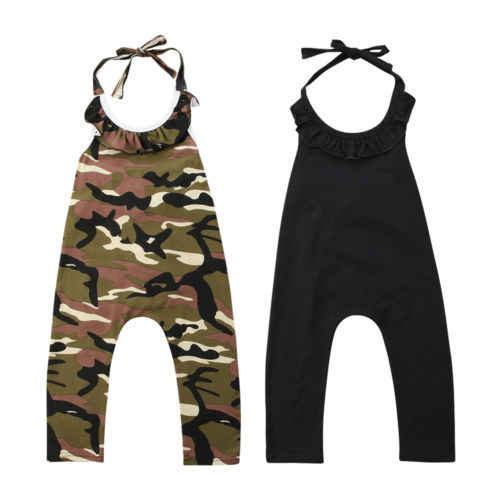 62ebb7a5292 Detail Feedback Questions about Cotton Baby Kids Girls Romper Summer  Sleeveless Ruffle Halter Backless Rompers Camo Jumpsuit Playsuit Clothes  Girl Clothing ...