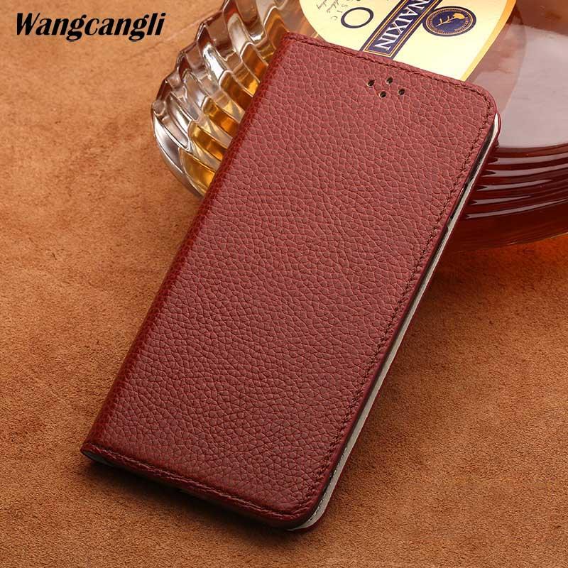 Coque Mobile Texture Litchi pour Nokia X6 coque de téléphone en cuir véritable à la main étui pour téléphone d'affaires personnalisé