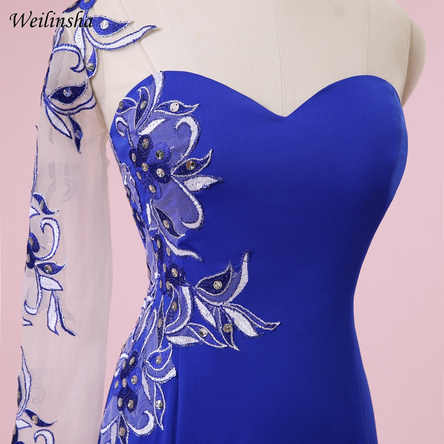 Weilinsha Plus Size Mermaid Kjole En Skulder Royal Blue Sexy Broderi - Spesielle anledninger kjoler - Bilde 5