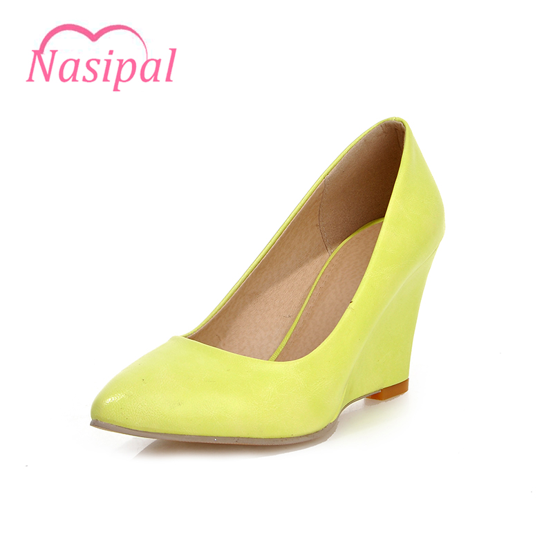 Nasipal 2017 New Pumps Women Shoes Wedges Heels High heel Pointed Toe Flower Shoes Woman Pumps Ladies Spring Autumn Shoes C062 new women pumps transparent wedges high heels ankle pointed toe high heels pring autumn sexy shoes woman platform pumps