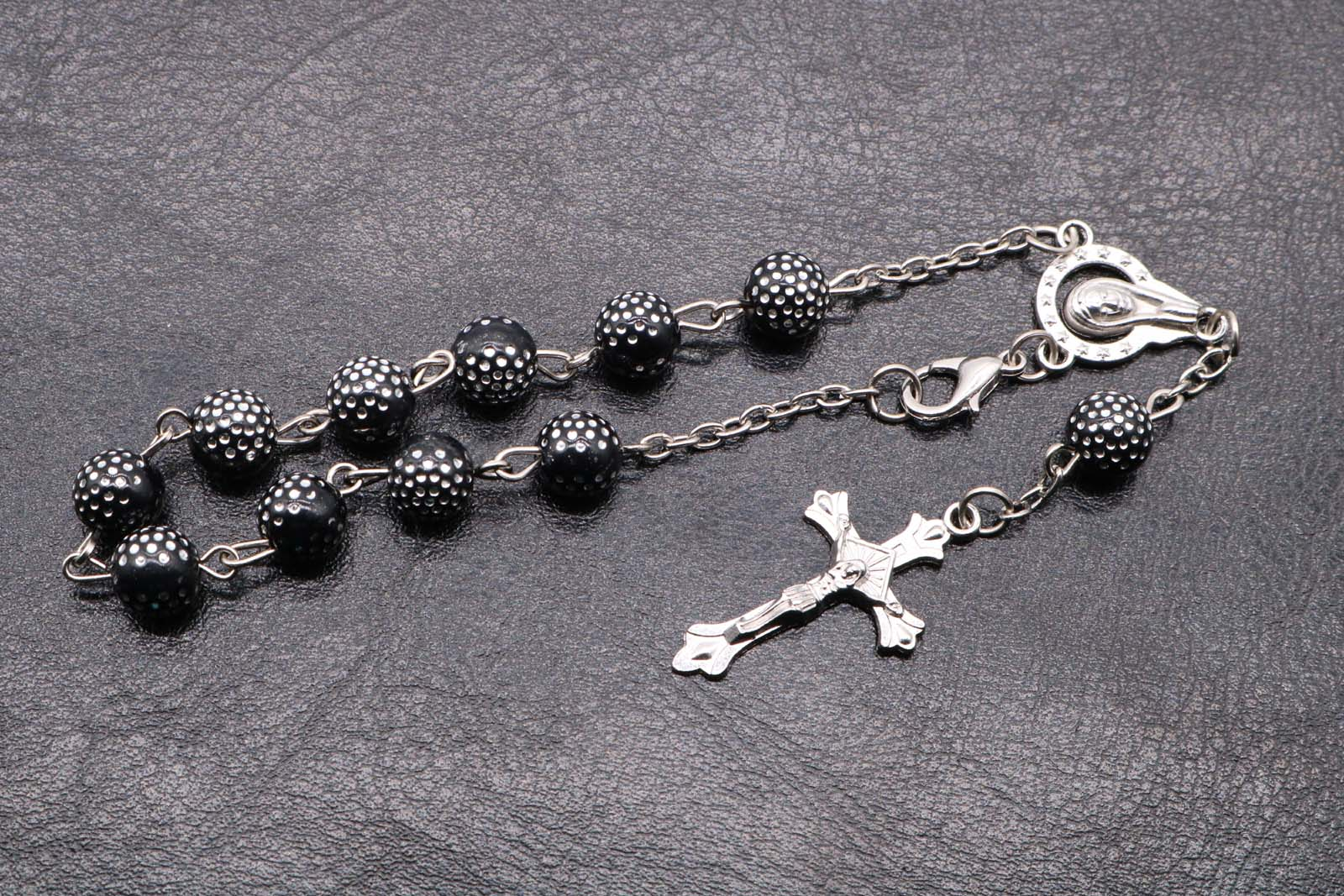 newly opened store religious 8MM black Rosary Bracelet. Jesus and Maria's religious Catholicism accessories Free delivery