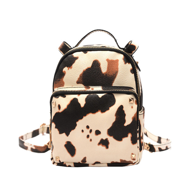 2017 Autumn New Pu Cow Print Backpack Leisure All Match Schoolbag